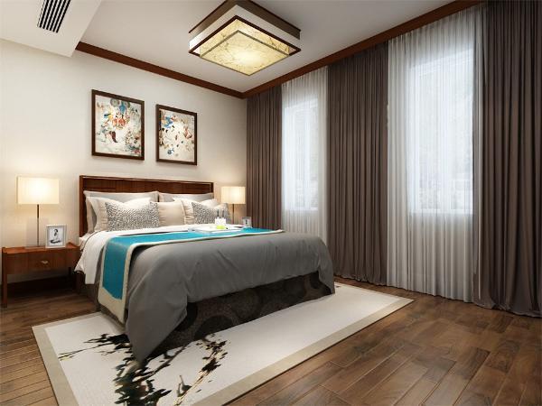 两间卧室位于户型的里面,属于一个安静的区域,这样的设置能够保证主人的睡眠,不受外界声音的打扰。