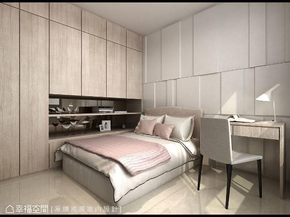 床头主墙及柜面使用线条切割来表现,成功诠释专属屋主的品味质感。 (此为3D合成示意图)