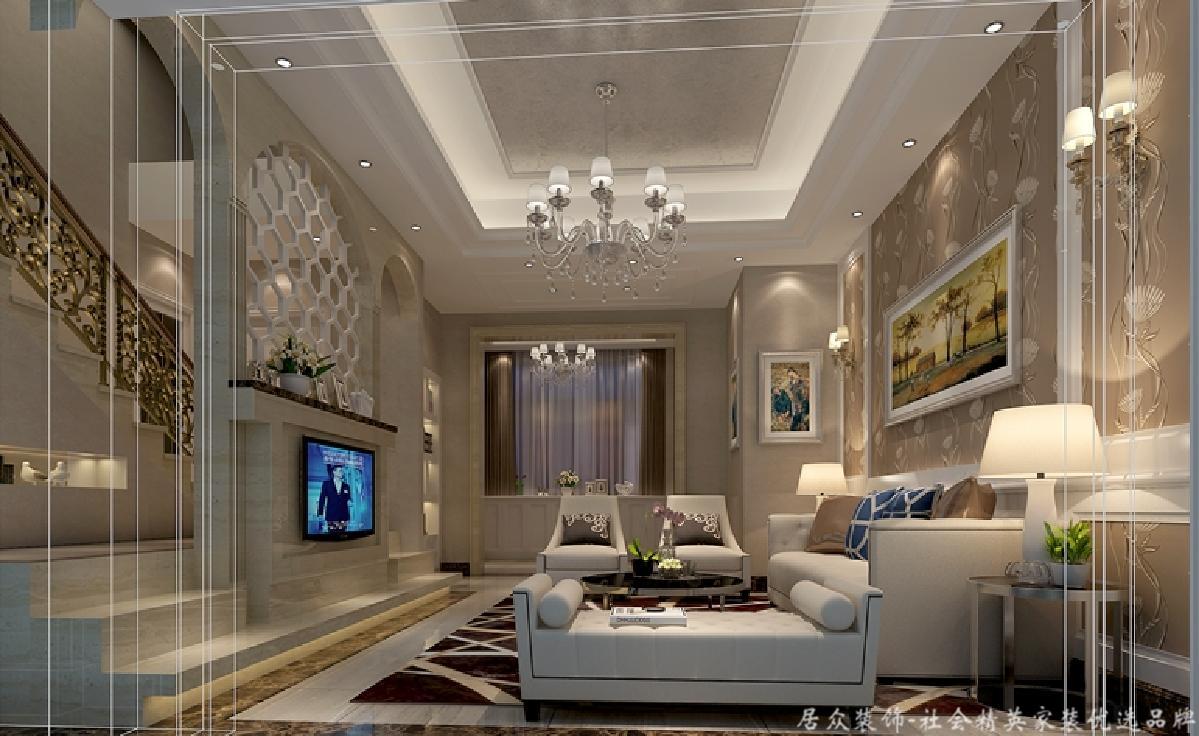 中式 简约 复式 客厅图片来自居众装饰长沙分公司在第六都-中式风格-190㎡的分享