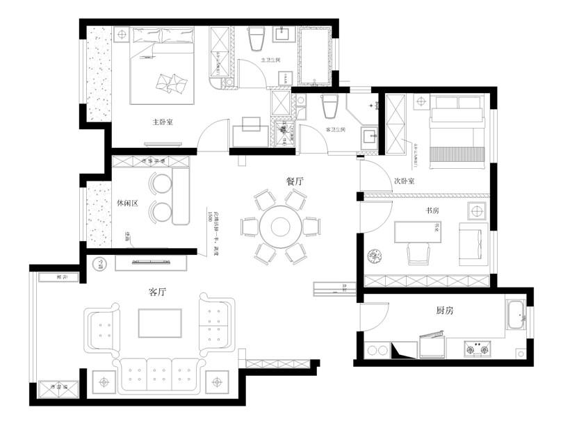 三居 白领 收纳 80后 小资 户型图图片来自实创装饰完美家装在金地朗悦3室2厅2卫120㎡简欧的分享