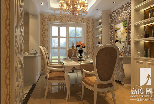 餐厅: 餐厅客户的要求做了酒柜展示, 中西厨结合的厨房也让业主生活品质得到提升。
