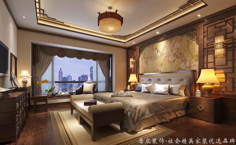 五居 中式 平层 卧室图片来自gqx9211300在恒大华府-中式五居平层的分享