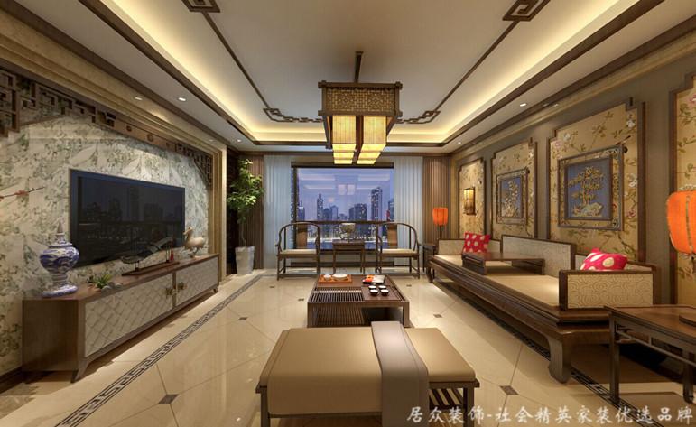五居 中式 平层 客厅图片来自gqx9211300在恒大华府-中式五居平层的分享