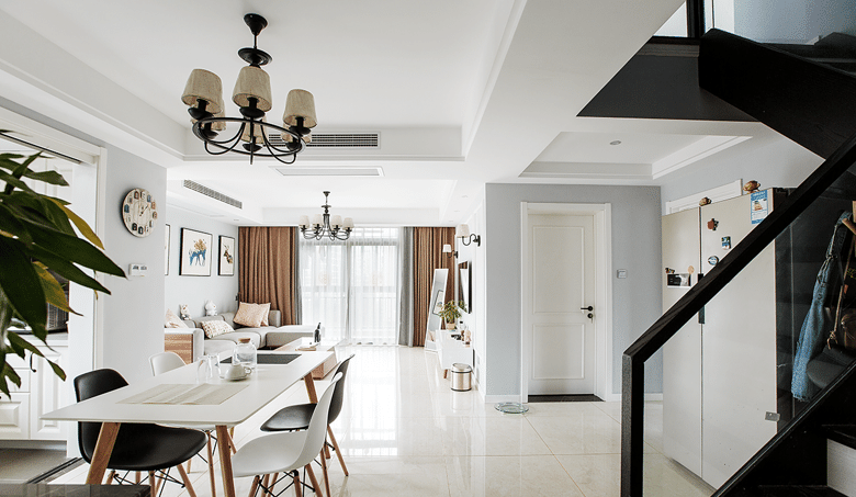客厅图片来自家装大管家在洗尽铅华 106平现代简约复式居的分享