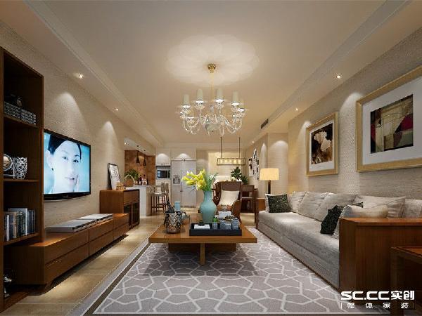 亚星星苑123平混搭风格装修设计-客厅