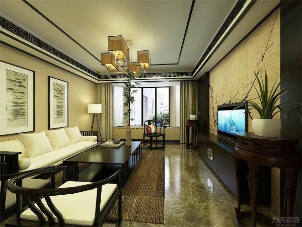 客厅空间讲究的是沉稳宁静的感觉,电视背景墙的彩绘与屏风的相呼应且更富层次感,营造出弄弄的中式气息,地面800*800的地砖更富于一种大气的感觉。