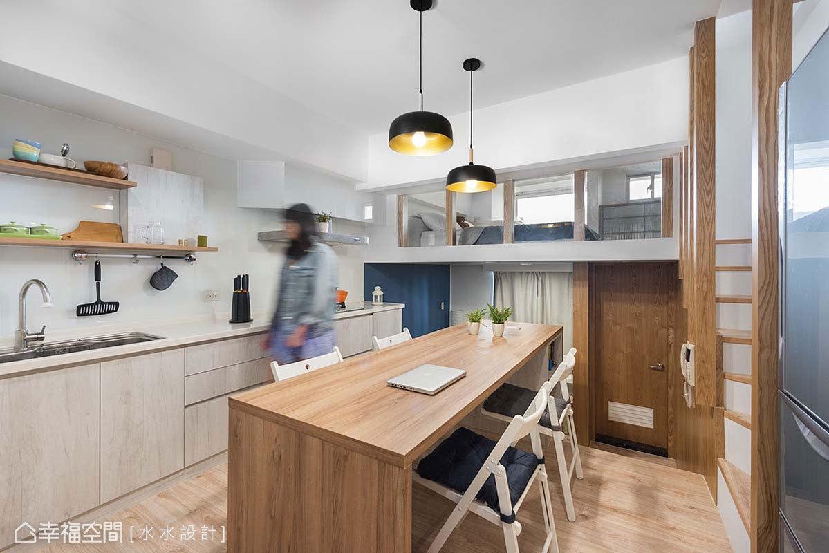 一房 简约 北欧 休闲 收纳 餐厅图片来自幸福空间在坐拥河岸绿意25平挑高慢活空间的分享