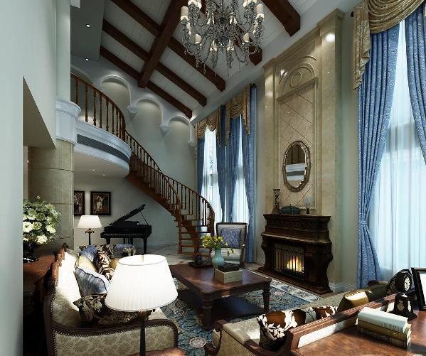 绿洲比华利别墅装修美式风格设计方案展示,上海腾龙别墅设计师任云龙作品,欢迎品鉴!