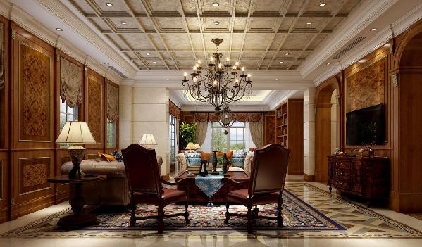 上海绿城玫瑰园别墅户型装修美式风格设计方案展示,上海腾龙别墅设计师曹晖作品,欢迎品鉴!