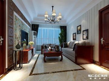 紫荆华庭130平三室混搭风格设计