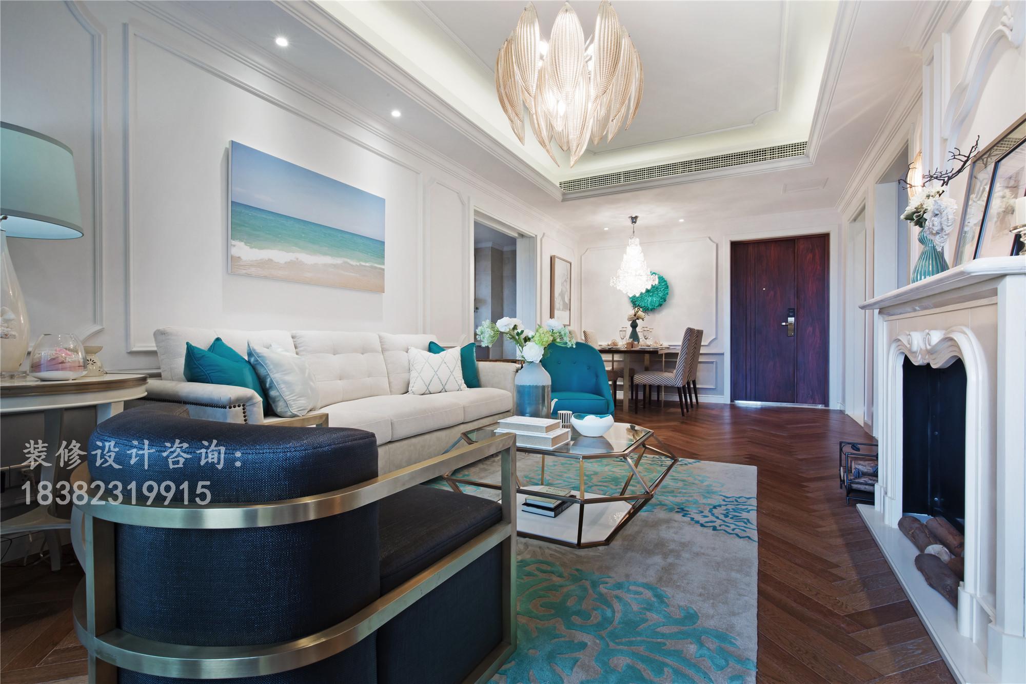 简约 三居 美式 80后 小资 客厅图片来自成都丰立装饰工程公司在孔雀蓝-神秘的色彩的分享