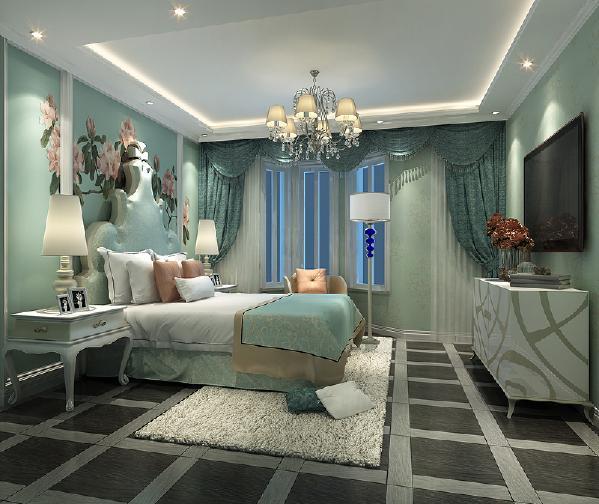 卧室的颜色清新淡雅,又没有多余的装饰更显得大方。壁纸能凸显整体风格的情调花色传统,素色淡雅,灯具的繁复,相互搭配既有欧式的情怀,又不失主人气质。