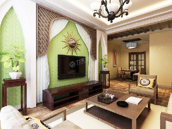 从效果图可以看出,客厅的设计就充分体现了东南亚风情。家具选用了古木色,低调沉稳,电视背景墙两侧是呈现一种尖头的形状,体现了宗教里积极向上的理念。