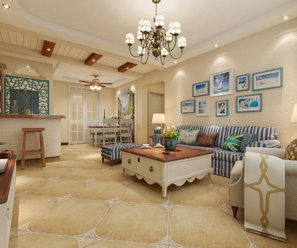 从客厅到餐厅看去,斜铺的地砖给人一种即视感。以蓝色为主色调的饰品更是突出了海洋的主旋律。