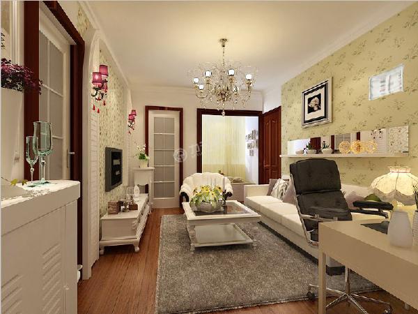 客厅:客厅作为待客区域,一般要求简洁明快,同时装修较其它空间要更明快光鲜,电视背景墙是用简单的拱形造型和碎花壁纸组成的,餐厅是用榻榻米来代替,一进入户门是一个简单的现代书桌。