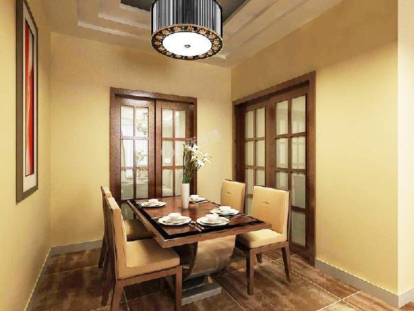 餐厅没有太多造型,为了区别于客厅,不会显得整个空间很乱,餐厅只是简单挂了一幅装饰画,但是餐桌椅选用的是东南亚风格。