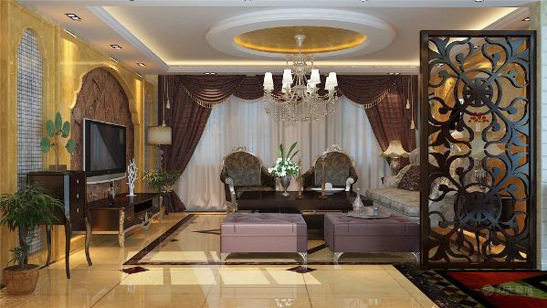 本案中,电视背景墙采用U型石板上墙的造型,中间搭配浅色的植物花纹壁纸,高贵又不乏时尚感,沙发背景墙以一面通透华丽的装饰墙,透过墙就可以看到餐厅。