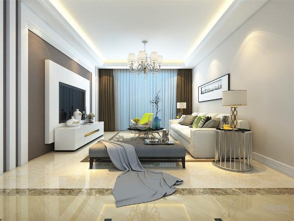 客厅作为待客区域,要明快光鲜,顶面回字形吊顶,内藏灯带,起到照明作用又有装饰作用,地面800*800大地砖通铺,地毯用拼花,使整体上有一种宽敞而大方。