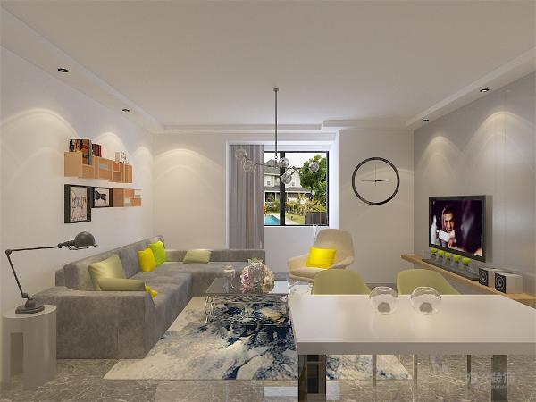 餐桌餐椅的材质都是简洁大方的,沙发以深咖色为主,配上了比较奢华的靠枕,主色蓝白色的地毯,及参花的抛光地砖,颜色层次有变化,开放式的厨房,和两处绿色的植物让人耳目一新。