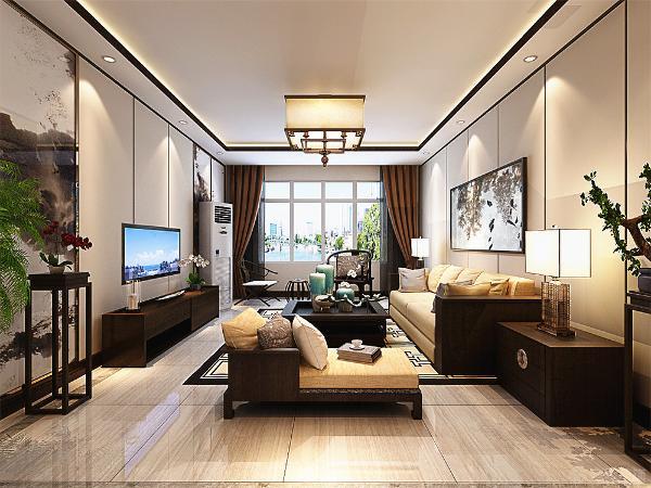 客厅和餐厅则是采用的800*800的地砖铺装外铺一圈波打线。而卧室空间则是全部采用的木地板铺装。