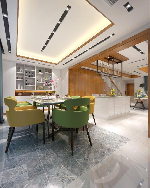 餐厅天花板灯的设计,摒弃了传统的吊灯设计,而是运用了LHL•室内设计事务所原创的天花凹槽筒灯独特设计,将柔和的光源均匀投射到自然清新的餐椅上,宛如身处大自然中,享受风和日丽里的用餐。
