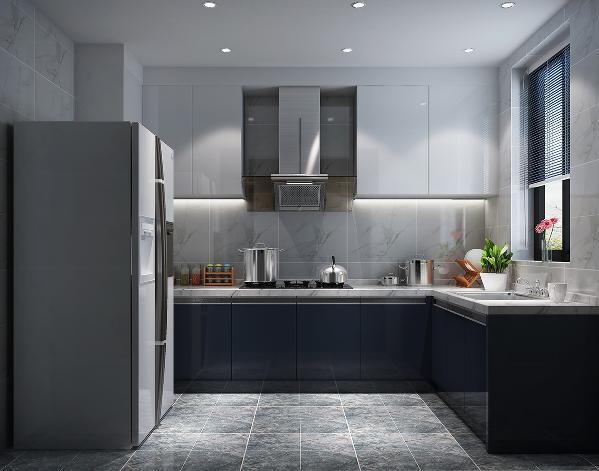 点线面的经典空间布局、蓝灰高贵色调的运用在厨房里得到了很好的发挥。