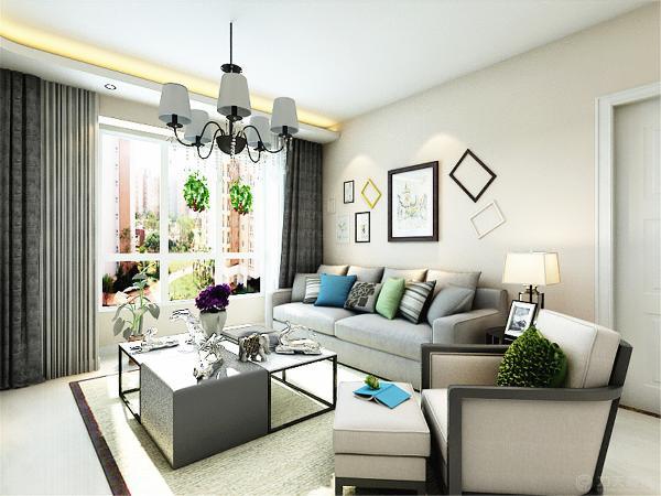 客厅设计简洁明朗,素色的壁纸,温和的灯光,色调明快简洁,沙发背景墙挂画随意摆放,给人以舒适放松的感觉。