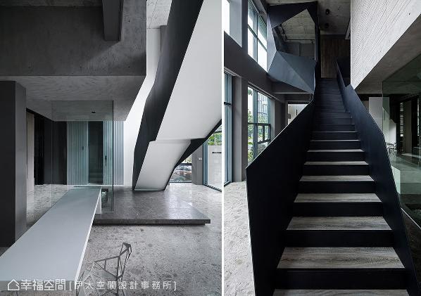 为完美演绎国际制鞋品牌的企业形象,打破地方制式规格,从建构于大厅的楼梯起始,即以骨干的结构展现力学之美。