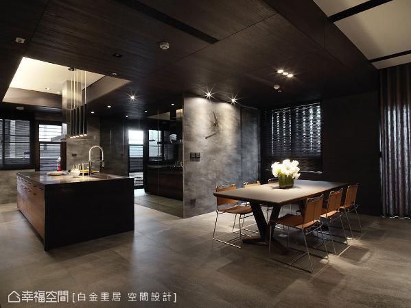 采灰色系美耐板材质,赋予立面仿石材的天然肌理;搭配精心挑选的时钟墙,增添空间变化性。