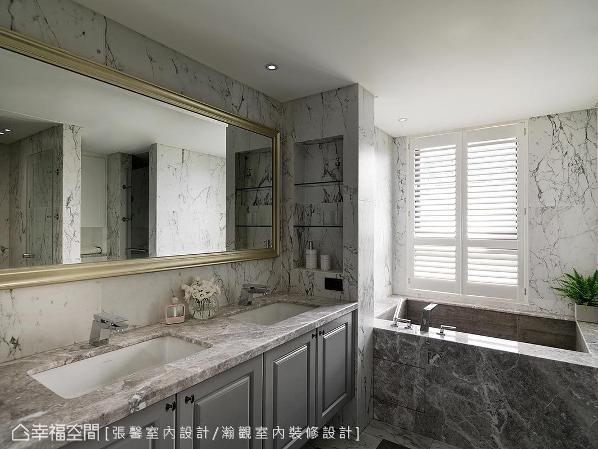 考虑了使用动线、收纳逻辑等日常习惯,反应于卫浴细节的规划,并使用纹路丰富的大尺寸磁砖,打造欧式精品卫浴。