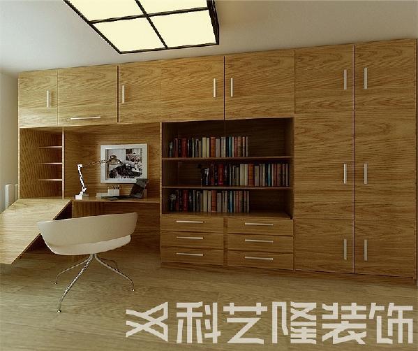 书房的墙面做一整面组合柜,大大提升了利用空间,并且比较美观,主卧室的装饰就比较简约温馨。原木色的家具配上沉稳的家具布艺,整体营造了成熟稳重的卧室环境