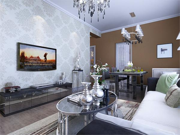 本案电视墙面壁纸的设计是整个住宅空间的亮点,运用了壁纸,其他墙面刷浅咖色墙漆,营造出现代化空间。
