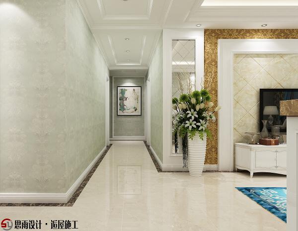 餐厅墙面印花壁纸装饰,在华丽灯光的渲染下,让用餐感受都变的更加清新,石膏板吊顶闪亮而有层次,显得餐厅空间大一些。
