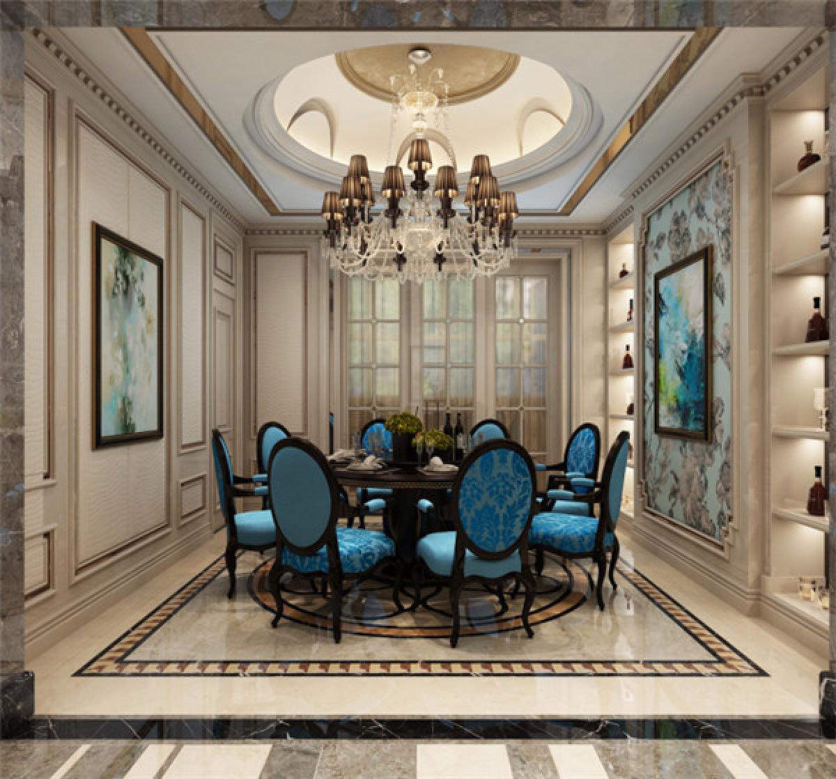 餐厅图片来自日升装饰秋红在曲江公馆和园欧式古典风格的分享