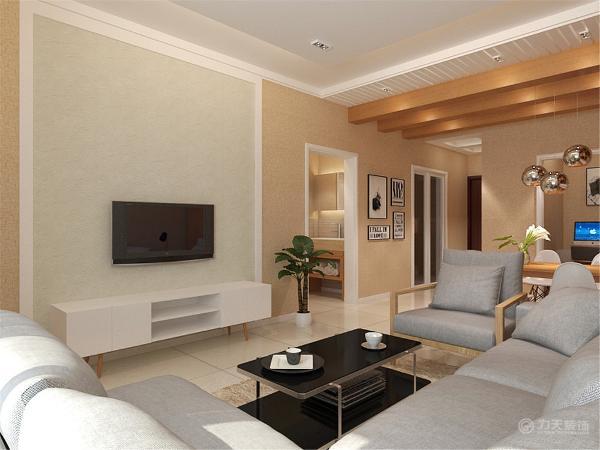 客厅背景墙采用方形框,内部灰色壁纸,非常的简约,给人干净舒爽的感觉,配上浅灰色的沙发,温馨舒适。吊顶采用回字形吊顶,餐厅区域木质吊顶,区分功能区间。