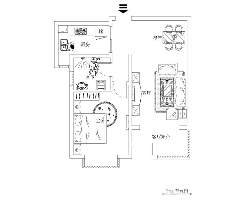 户型图图片来自天津科艺隆装饰在人才公寓—现代简约—74.88㎡的分享