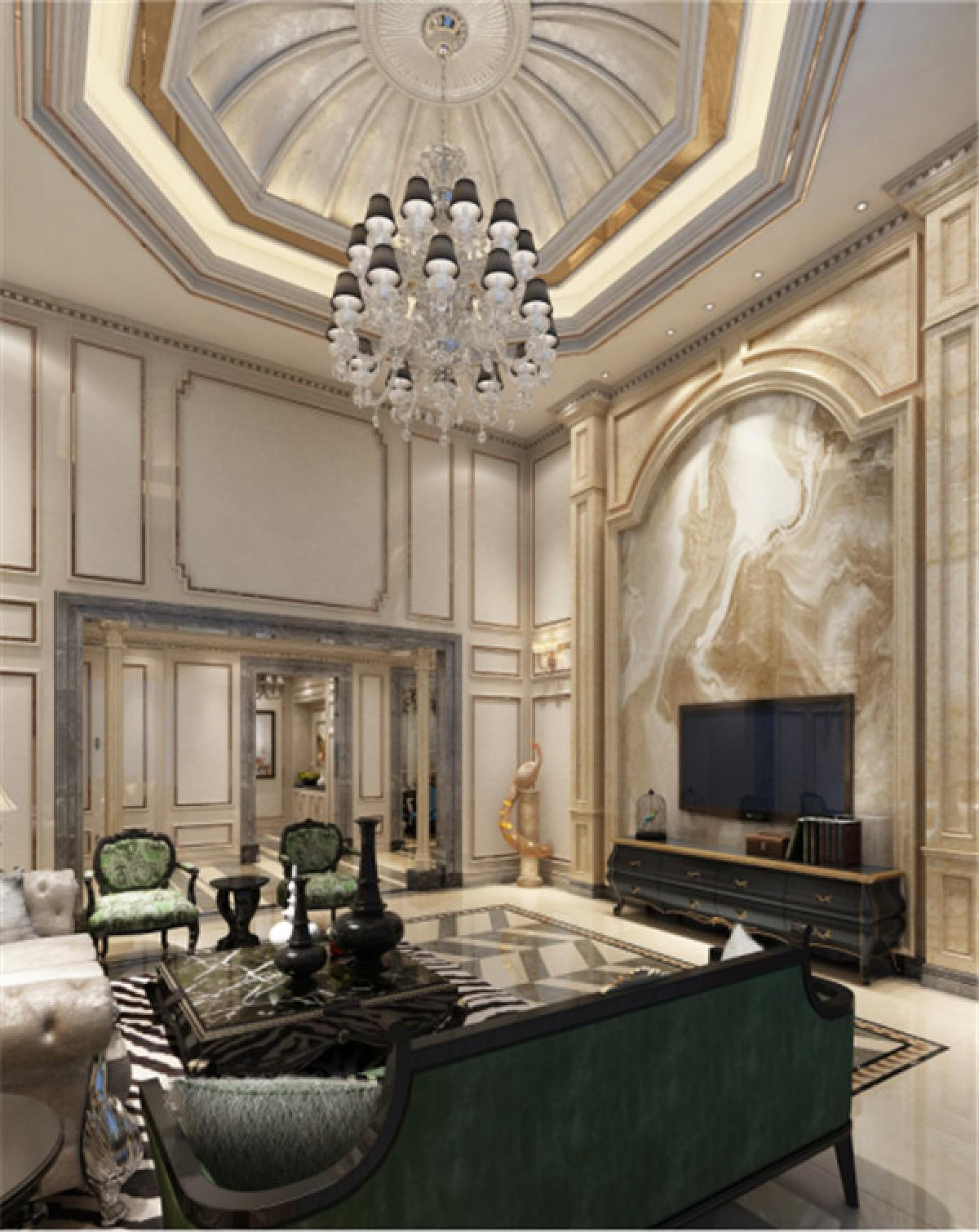 客厅图片来自日升装饰秋红在曲江公馆和园欧式古典风格的分享