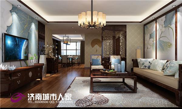 中式 客厅图片来自济南城市人家装修公司-在东方天澍190平中式装修效果图的分享