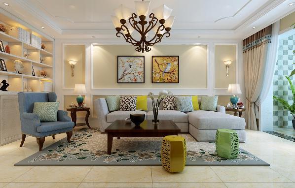 沙发区呼应电视墙,用的是直线框护墙板,中间用素色的壁纸,体现出色彩的终极里。整体沿用暖色系,让业主觉得这不仅是一套居住的房子,更是一个温馨的家。