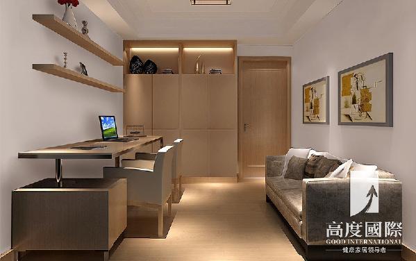 书房的设计:主要是男主人的办公区域,独立的空间,简单的办公书桌和一组柜子,沉稳的环境,更能让人静下心来工作