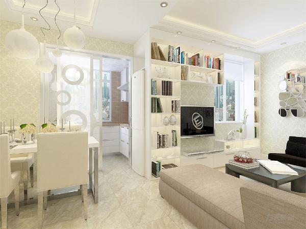 客厅和餐厅顶面采用回字形吊顶。整体设计给人简单简约,功能性强,宽敞舒适感受。