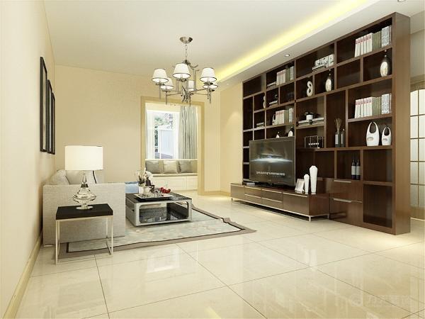 本次的设计风格是是简约风格,客厅墙面是浅米黄色的乳胶漆,