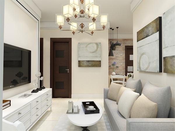 客厅电视背景墙采用了大块的瓷砖拼接,增加了空间对比性,增加光线感,使空间严肃整洁,其他墙面通刷卡其色乳胶漆。