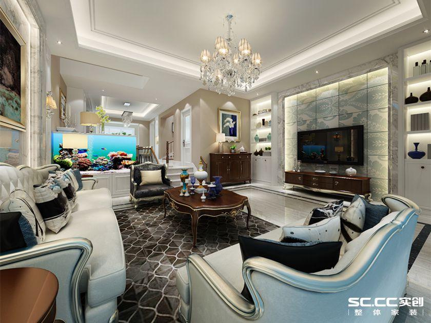 别墅 混搭 实创 万科 玫瑰里 客厅图片来自快乐彩在万科玫瑰里别墅装修260平混搭的分享