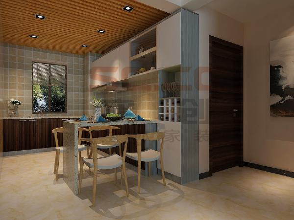 虽然是高层,即是面南,也就是阳光满满,开放式厨房设计,美观实用,巧妙的利用台面延伸的餐台,扩大了空间的实用性能,餐区没有主灯,小巧的方形射灯藏在木质吊顶中,别有风味。
