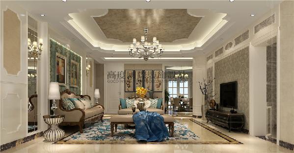 建发鹭州国际156平米装修案例 简约欧式   客厅