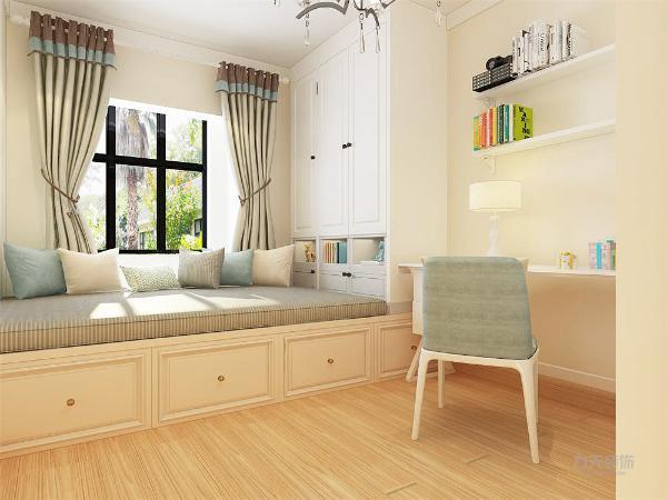 主卧空间为业主选配的是软面床头的双人床,并在阳台做了一个小吧台的休闲区域。另外的次卧空间则是做了一个榻榻米床,床上为一个高柜,并安置了一个学习区域。使整个空间得到了充分的利用。