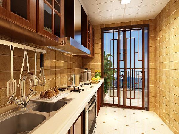 厨房的设计也很特别,木色加以仿古砖的铺贴,在以中式为主体的同时加以现代化的生活元素使得新中式更具魅力和文化韵味。