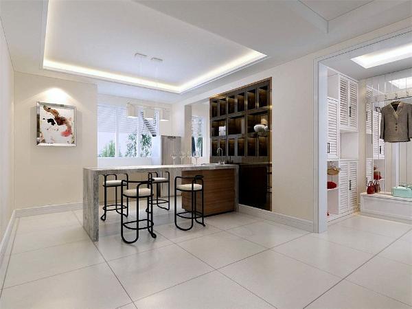 餐厅用装饰画做装饰、简单大方,增加装饰性,既美观又实用。光源上舍弃了以往的烛光环境,使用简单的几何灯具,大量采用自然光,在家具搭配上主要取材于布料,不锈钢,大理石更好的体现现代感。