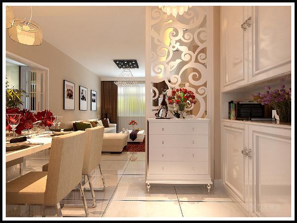 餐区这一块没什么造型以展示架为主,整个起居室是以暖色为主。既趋于现代实用,又明亮大方的特征。主卧的床头背景墙是用画为主,墙体是以橘色乳胶漆为主。